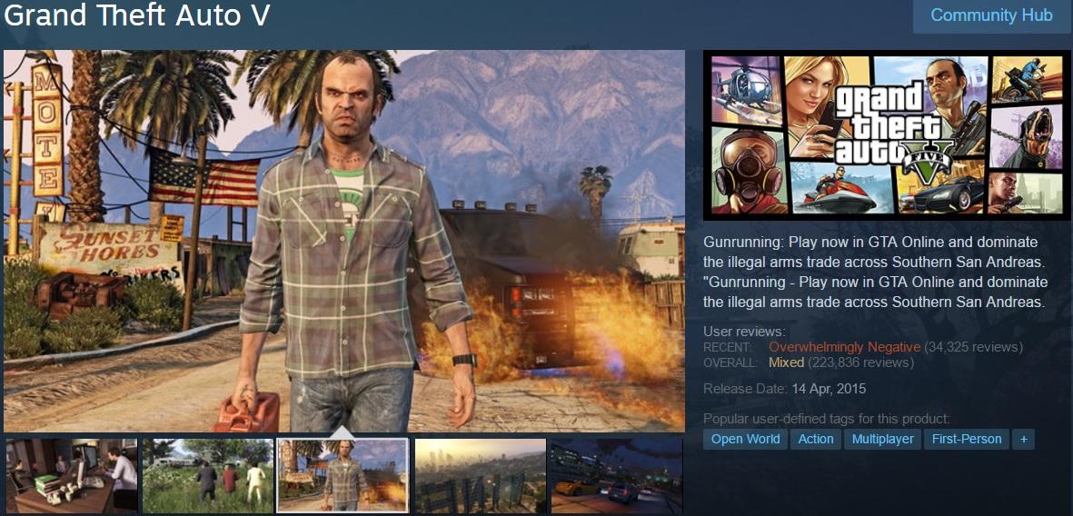 PC-геймеры снизили оценки GTA 5 и GTA 4 в Steam