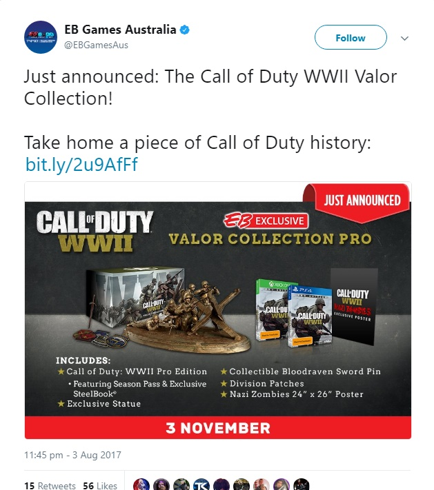 The Valor Collection for CoD: WWII contains a bronze statue