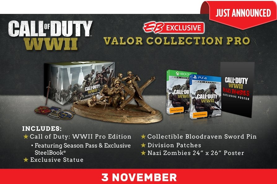 Call of Duty: WW2 Valor Collection Edition revealed, includes a bronze statue