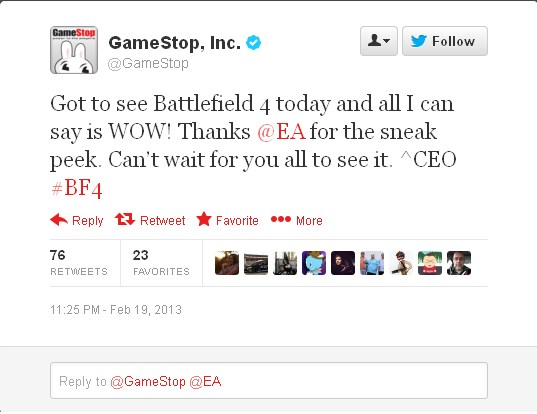 Gamestop's CEO got to see Battlefield 4, EA states that the