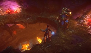 Human_wizard_and_Kerran_warrior_break_through_cavern_floor_to_a_magma_chamber_below_them
