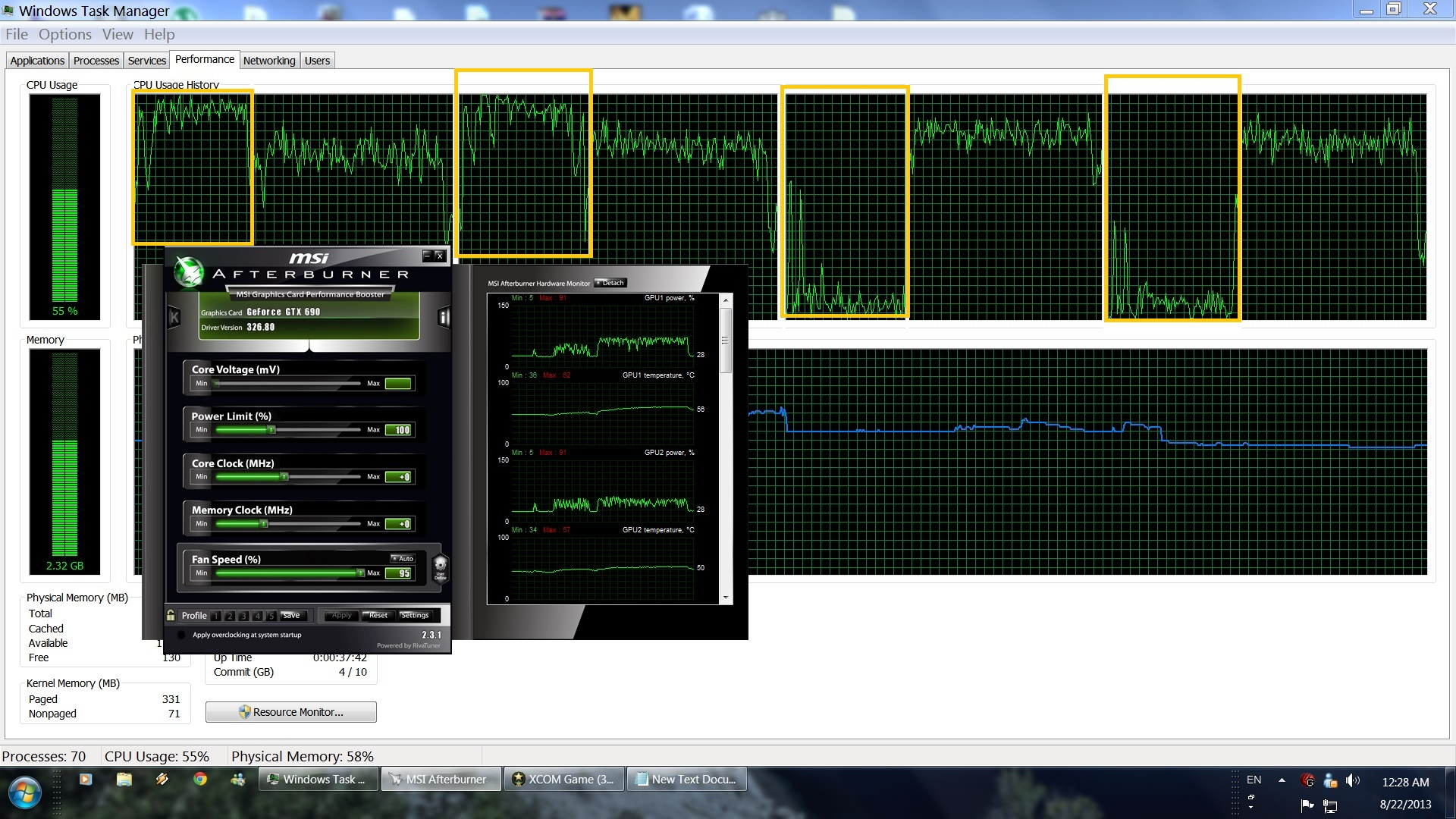 The Bureau XCOM PC Performance - Dualcore on the left and Quadcore on the right