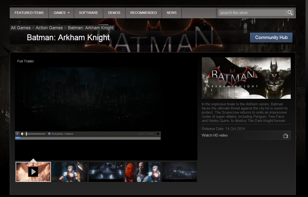 Steam Batman Arkham Knight page