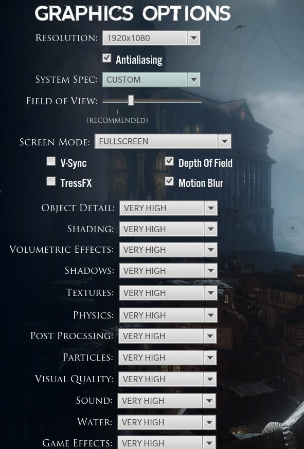 Lichdom graphics options
