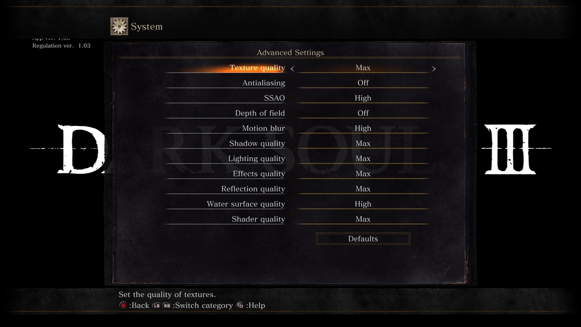 Dark Souls III PC Graphics Settings