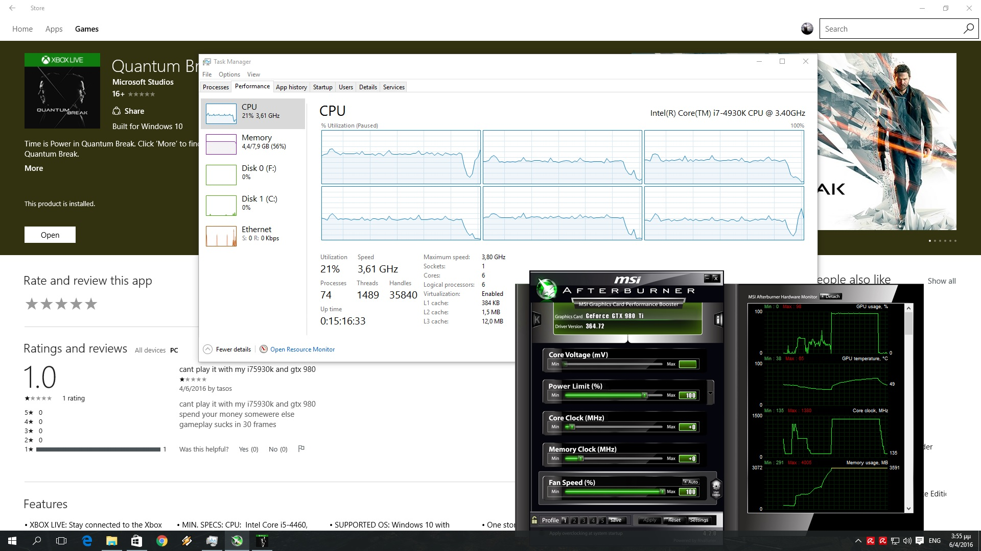 Quantum Break CPU Graph