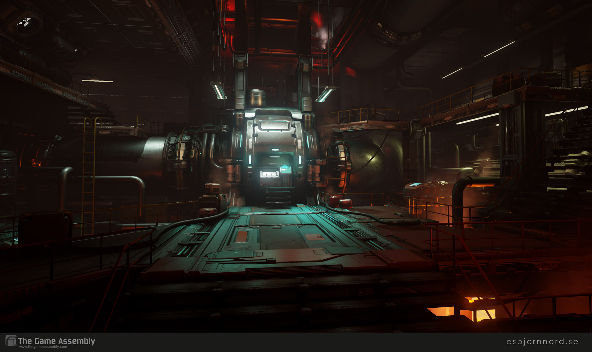 DOOM-inspired industrial sci-fi environment showcased in