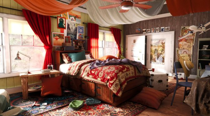 This bedroom scene, inspired by Uncharted 4's Cassie room, looks absolutely phenomenal in Unreal Engine 4