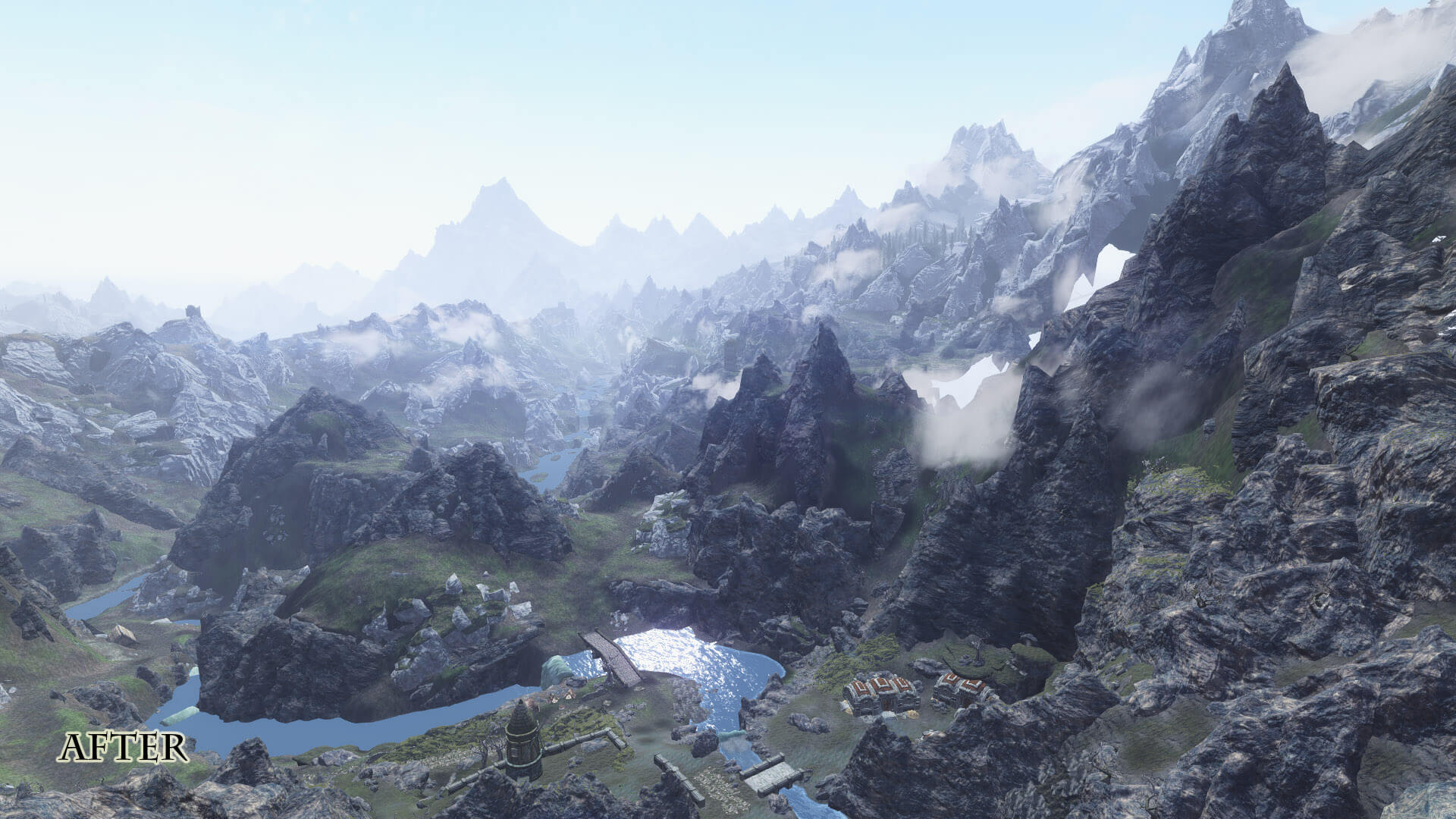 Skyrim mods replace the LOD blurry textures with 2K high quality