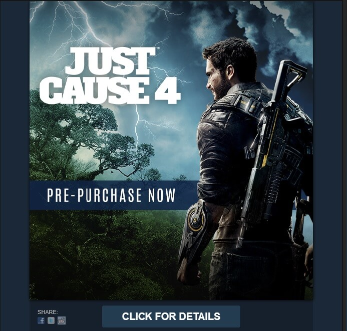 Steam pre-order message/page confirms Just Cause 4