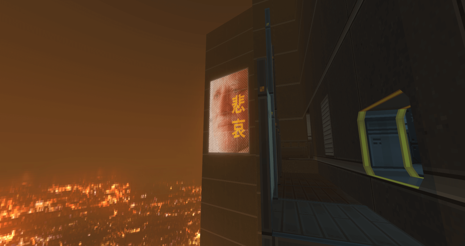 Doom meets Deus Ex in this custom exploration-heavy cyberpunk map