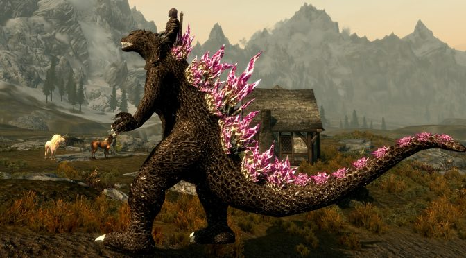 This mod adds Godzilla, Mecha Godzilla and Rodan to Skyrim, and you can ride them