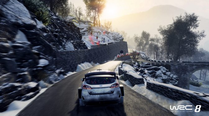 New gameplay footage from WRC 8 surfaces, showing a night race in rain
