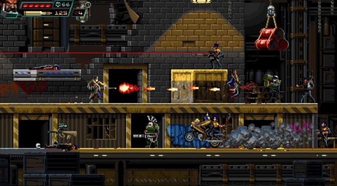Huntdown is a 16-bit pixel art 2D action platformer that is available on the PC