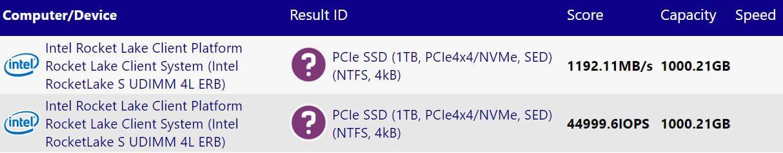 Intel 11th Gen Core Rocket Lake-S PCI-Express 4.0 NVMe SSD