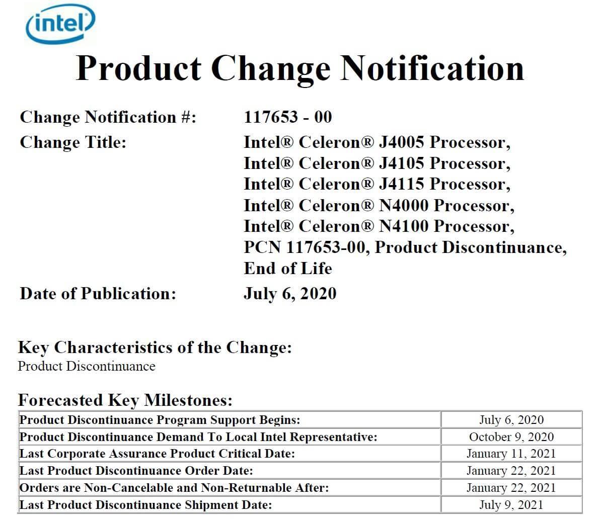 Intel Gemini Lake Discontinue