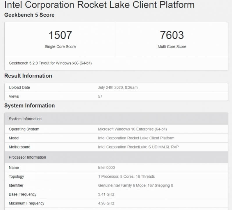 Intel Rocket Lake CPUs new leak