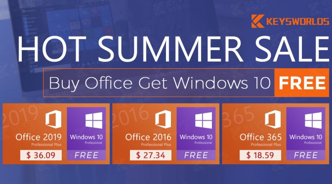 Hot Summer Deal: Buy office get Windows 10 for Free, Special 50% off for Microsoft Office Product , and Windows 10 deals start from $9