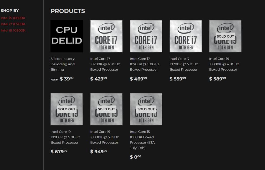 Silicon Lottery pre-binned Core i9-10900K CPU