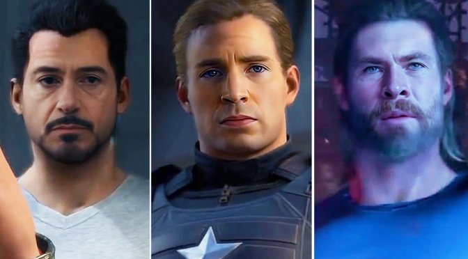 Here is a video for Marvel's Avengers, featuring Chris Evans, Chris Hemsworth & Scarlett Johansson