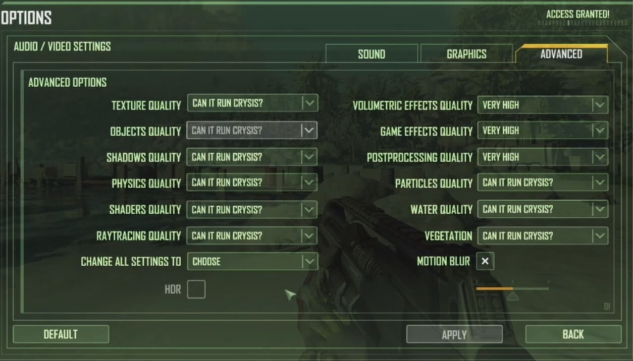 Crysis Remastered PC graphics settings