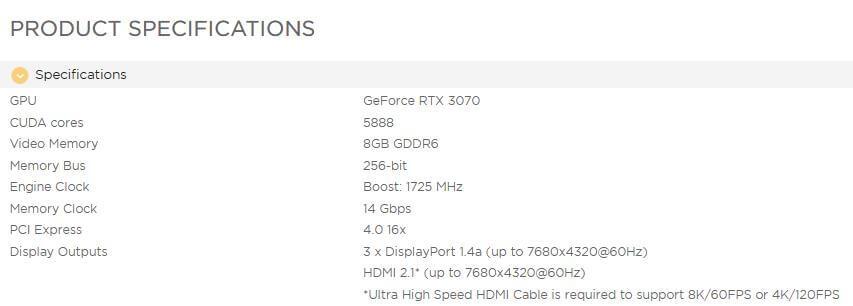 NVIDIA GeForce RTX 3070 GPU memory 14Gbps-1