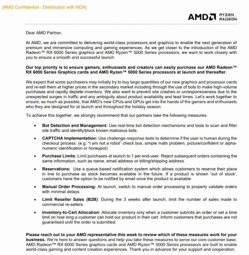 AMD RDNA 2 retailers scalpers notice