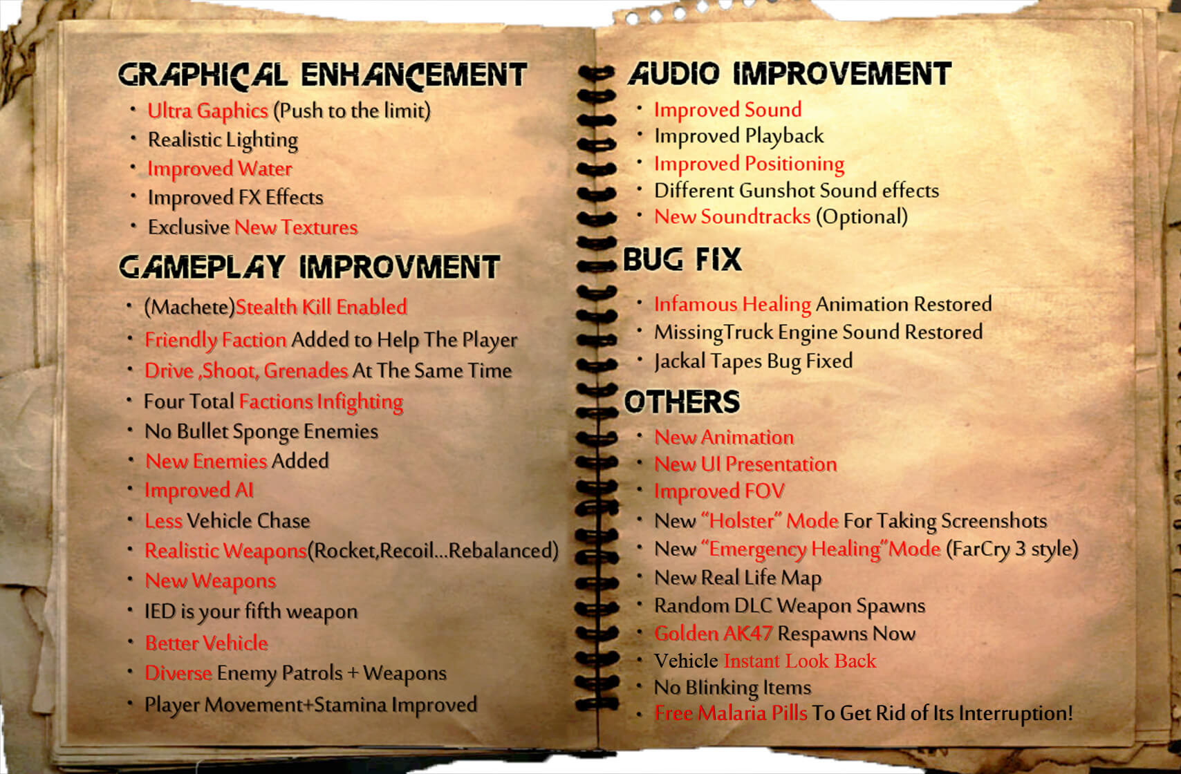Far Cry 2 Remaster Mod improvements and changes