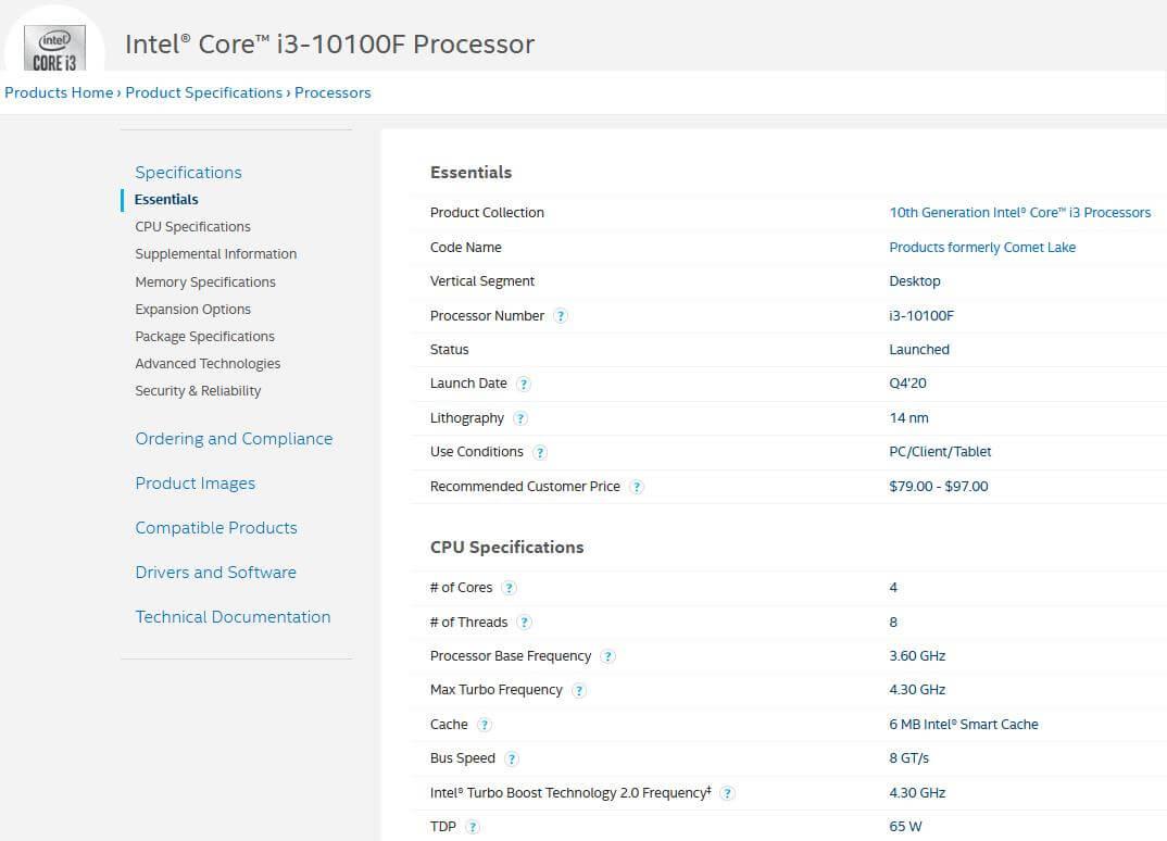 Intel Core i3-10100F CPU details