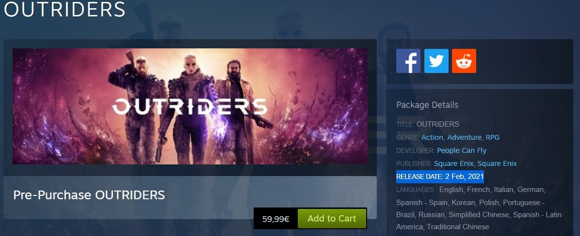 Outriders Steam leaked release date