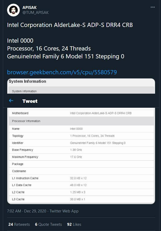 Intel Alder Lake-S Geekbench leak-2