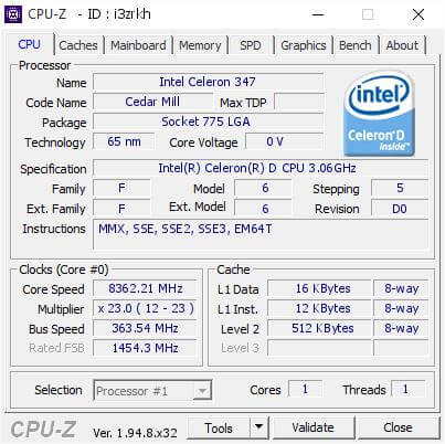 Intel Celeron D 347 8.37Ghz-1