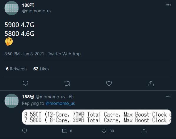 AMD Ryzen 5900 & 5800 leak tweet