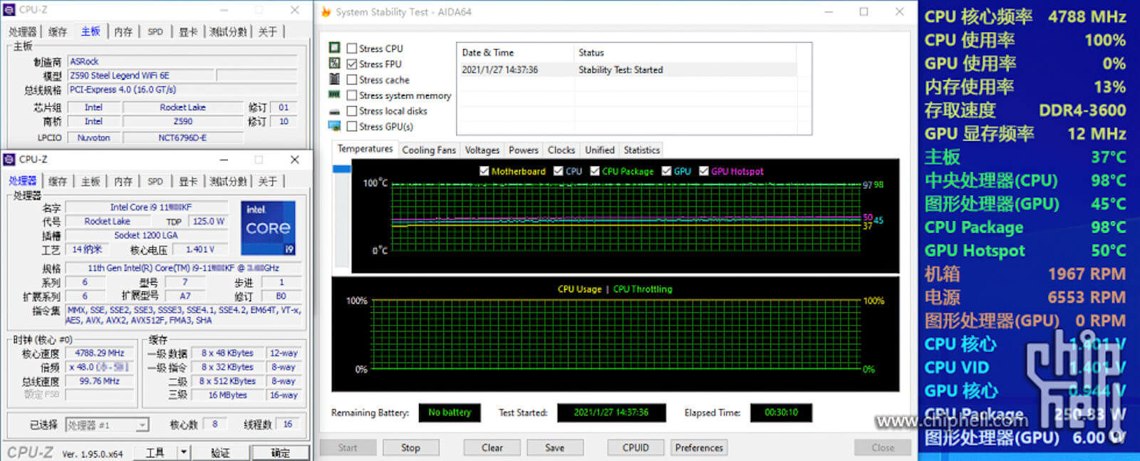 Intel Core i9-11900KF CPU 98c temperature-1
