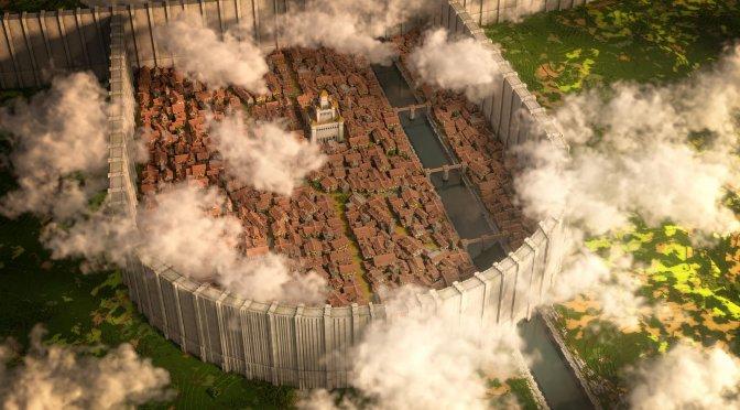 Modders have recreated Attack on Titan's Shiganshina & Warhammer Titan in Minecraft