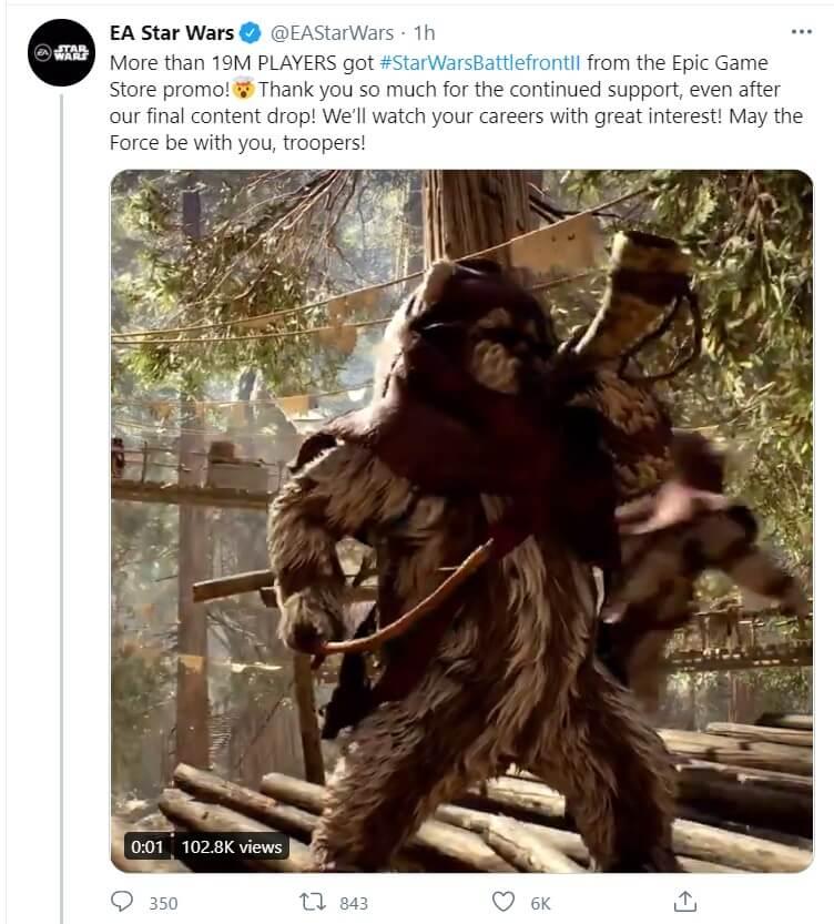 Star Wars Battlefront 2 Epic Games Store 19 million