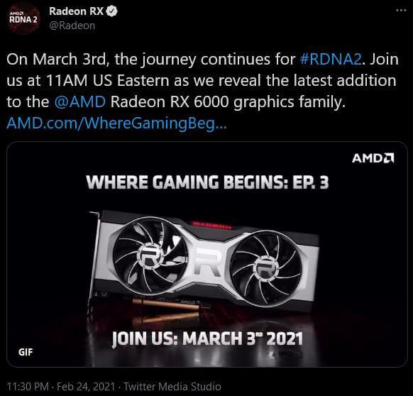 AMD Radeon RDNA2 March 3rd tweet