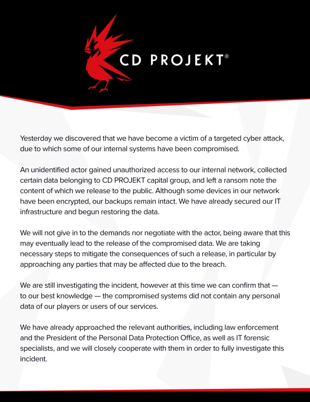 CDPR hack statement