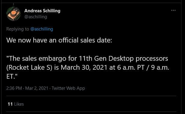 Intel Rocket Lake-S release date 1