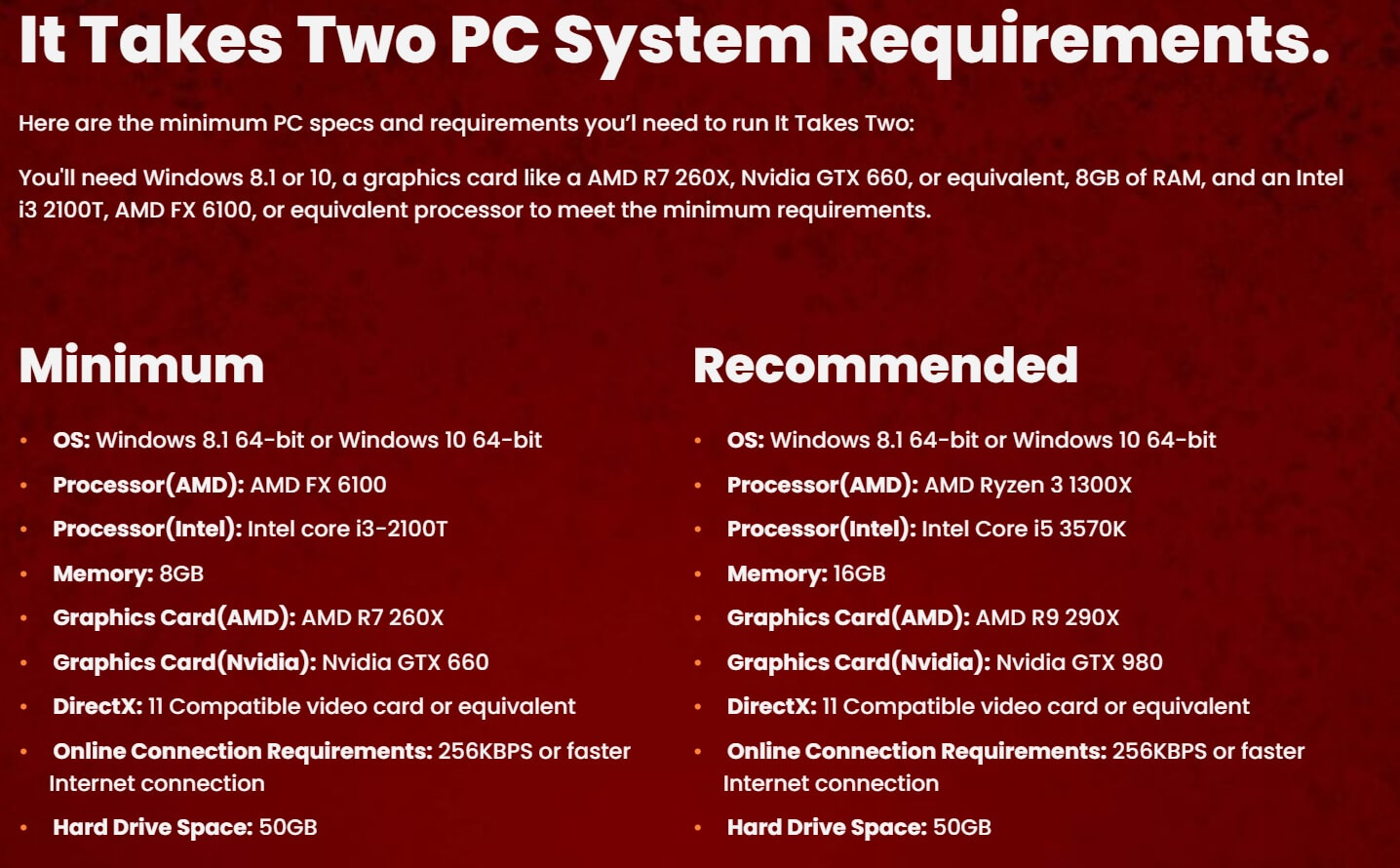 It Takes Two PC Requirements