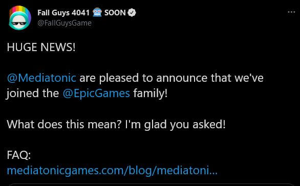 Epic Games acquired Tonic Games Group tweet