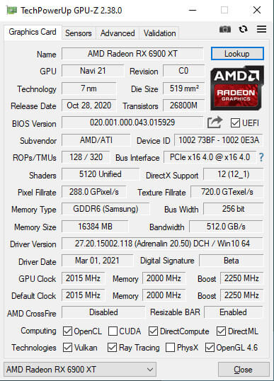 GPU-Z version 2.38.0