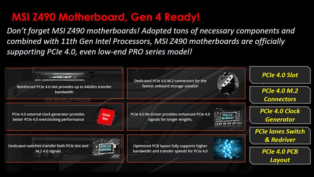 MSI Z490 boards PCI-E 4.0 Intel 11th gen CPUs-1