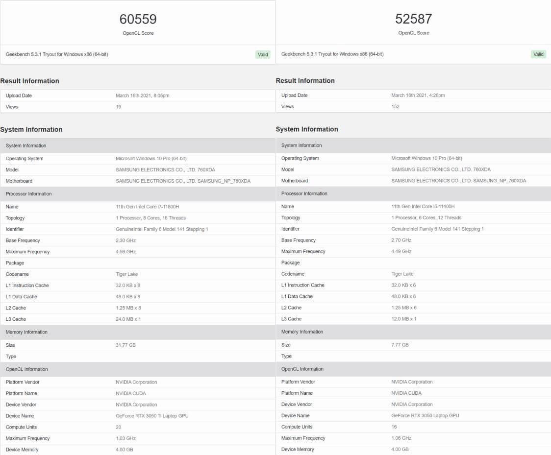 NVIDIA RTX 3050Ti Geekbench