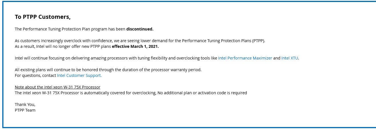 PTPP discontinuation