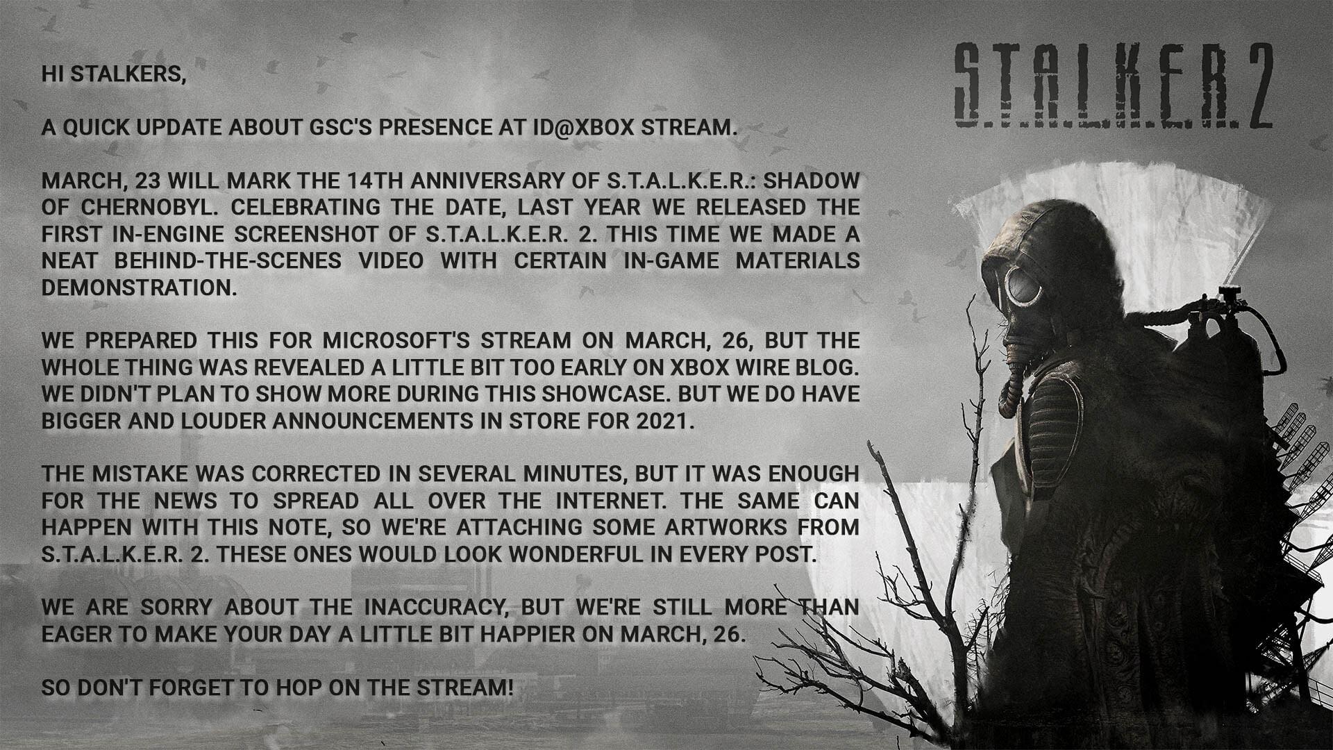 STALKER 2 ID@Xbox tweet