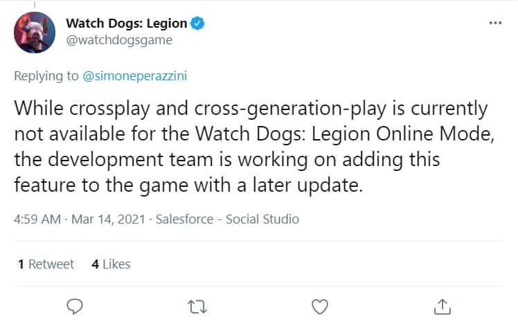Watch Dogs Legion Crossplay