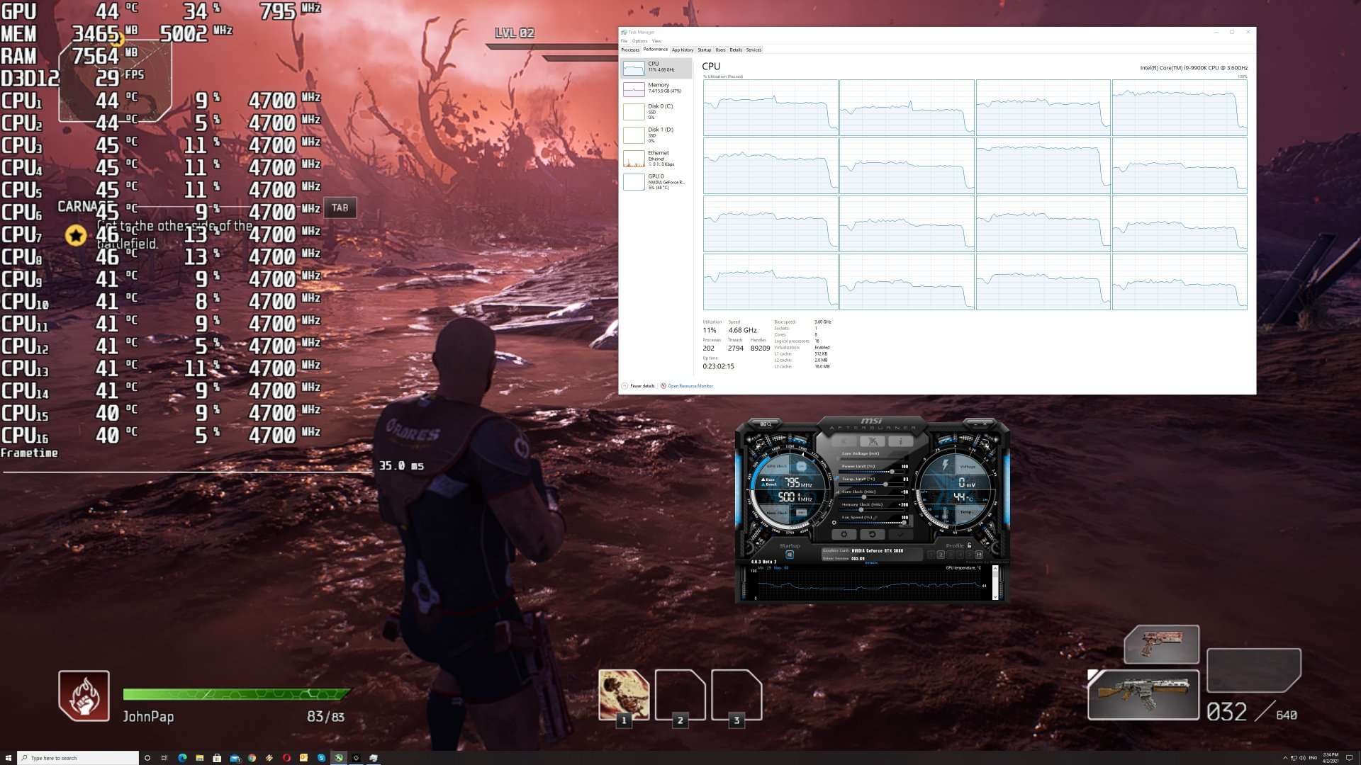 Outriders CPU usage