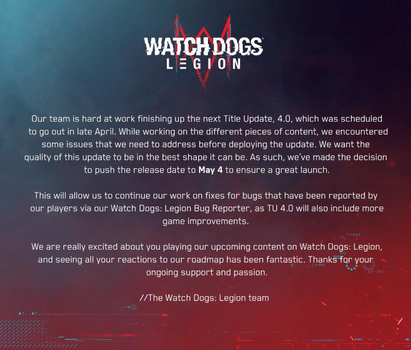watch dogs legion title update 4