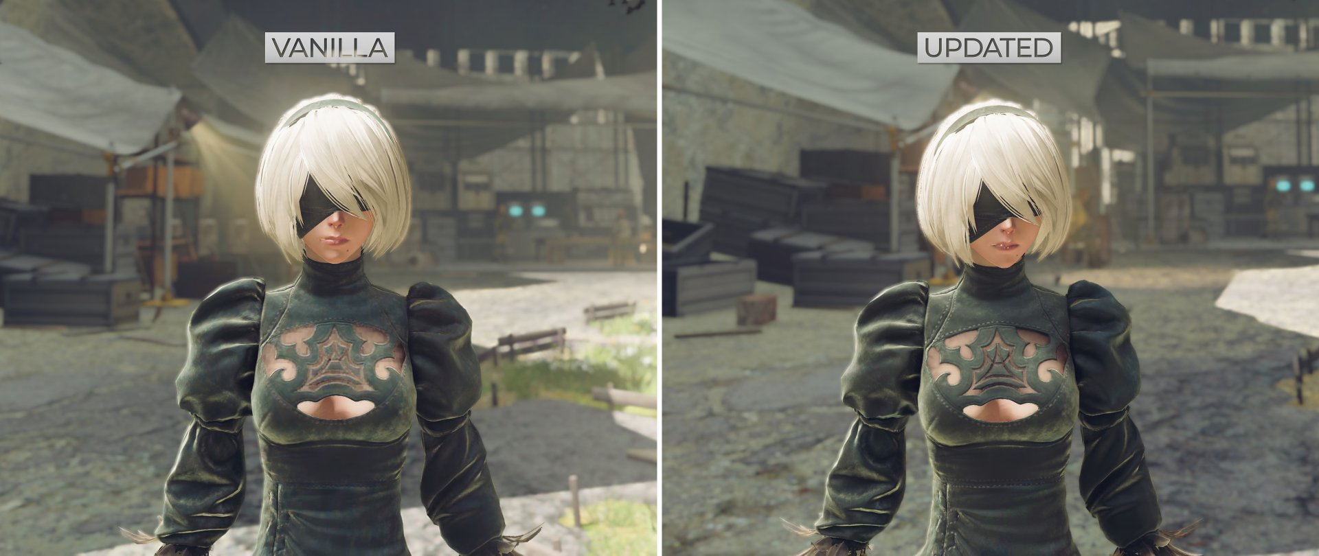 NieR Automata HD Texture Pack comparison screenshots-1